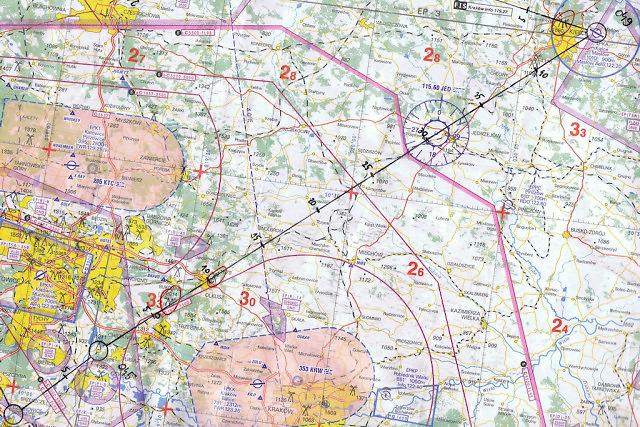 Mapa przelotu VFR z Kaniowa do Kielc