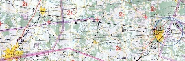Mapa przelotu VFR z Kielc do Częstochowy