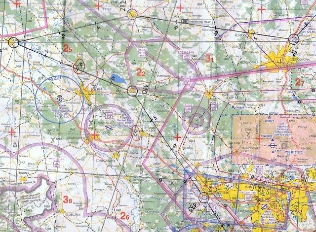 Mapa przelotu VFR z Częstochowy do Gliwic